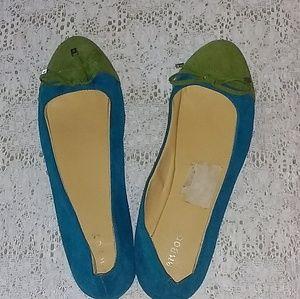 BAMBOO WOMENS GREEN/AQUA FAUX SUEDE FLATS